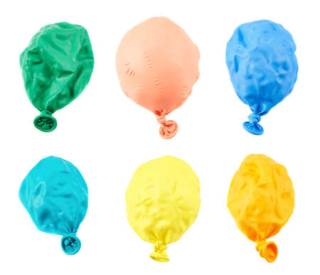 Deflated balloon isolated over white background, set of six different colors