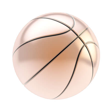 Shiny bronze basketball ball 3d render isolated over white background photo