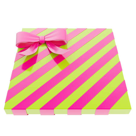 Wrapped green gift box with a purple bow and ribbon isolated over white , 3d render illustration