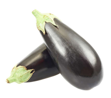 Eggplants, one over another isolated over white background