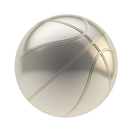 Glossy steel metal basketball ball 3d render isolated over white background photo