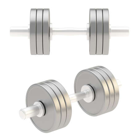 adjustable dumbbell: Adjustable weight metal dumbbell isolated over white background, set of two foreshortenings