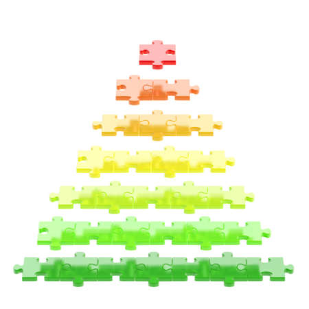 Pyramid made of red, orange, green puzzle pieces isolated over white  photo