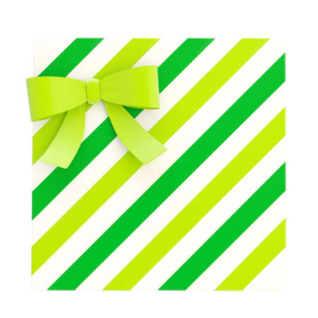 Wrapped white gift box with a green bow and ribbon isolated over white , 3d render illustration illustration