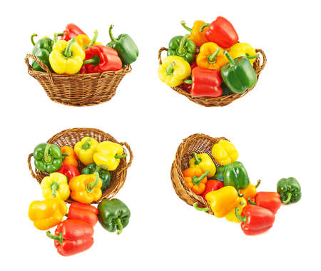 Wicker basket full of sweet green, yellow and red bell peppers isolated over white background, set of four different foreshortenings photo