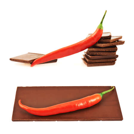 Chocolate and chili pepper composition, isolated over white background, set of two photo