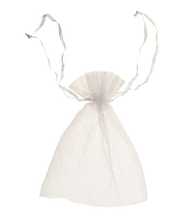 closed ribbon: White transparent drawstring bag closed packaging isolated over white background