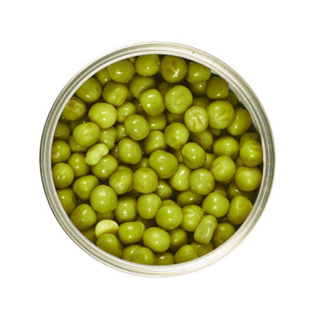 Metal can full of green peas isolated over white background, view above photo