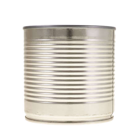 Metal can isolated over white background, side view photo