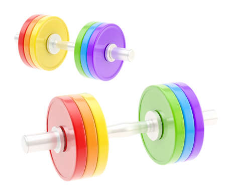 adjustable dumbbell: Two adjustable metal rainbow colored dumbbell composition isolated over white background