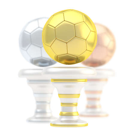 Award football, soccer sport trophy composition of golden, silver and bronze cups isolated over white background photo