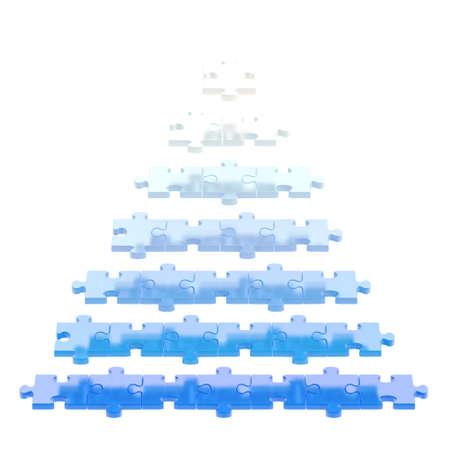 Pyramid made of white and blue puzzle pieces isolated over white background photo