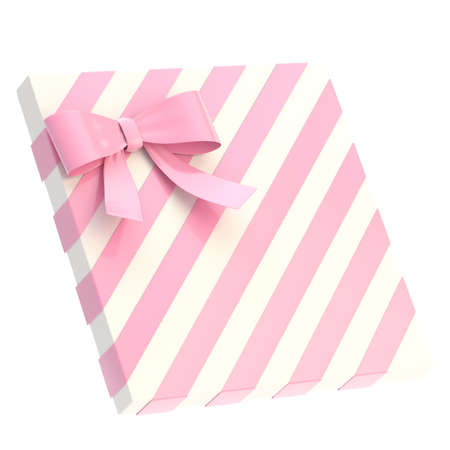 Wrapped white gift box with a pink bow and ribbon isolated over white background, 3d render illustration illustration