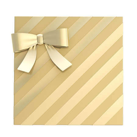 Wrapped golden gift box with a bow and ribbon isolated over white background, 3d render illustration illustration