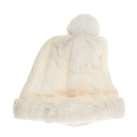 knitten: Knitted winter white cap isolated over white background