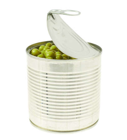 Metal can full of green peas isolated over white background photo