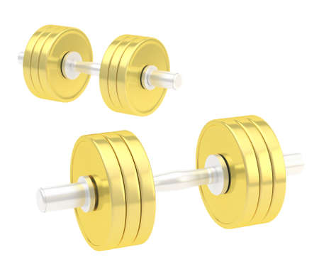 adjustable dumbbell: Two adjustable golden metal dumbbell composition isolated over white background