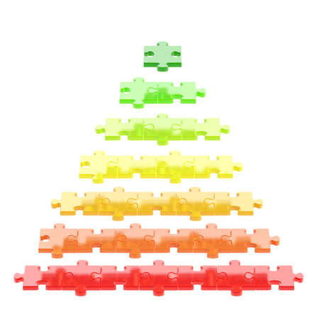 Pyramid made of red, orange, green puzzle pieces isolated over white background photo