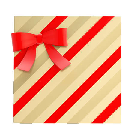 Wrapped golden gift box with a red bow and ribbon isolated over white background, 3d render illustration illustration