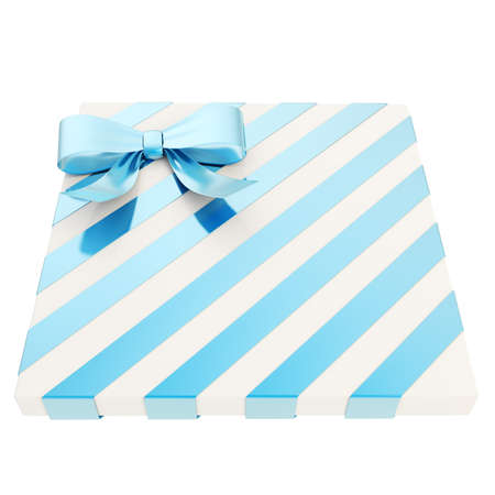 Wrapped white gift box with a blue metallic bow and ribbon isolated over white background, 3d render illustration illustration