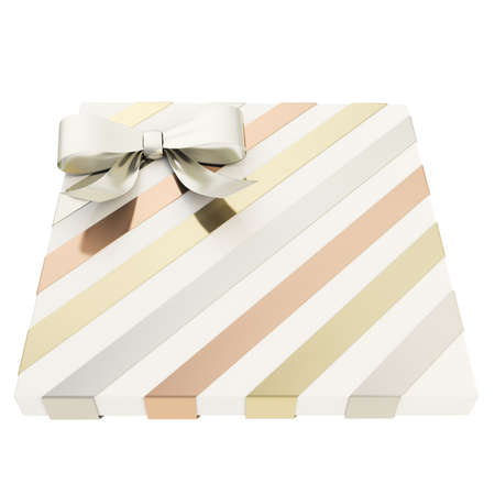 Wrapped white gift box with a silver bow and golden, bronze ribbon isolated over white background, 3d render illustration illustration