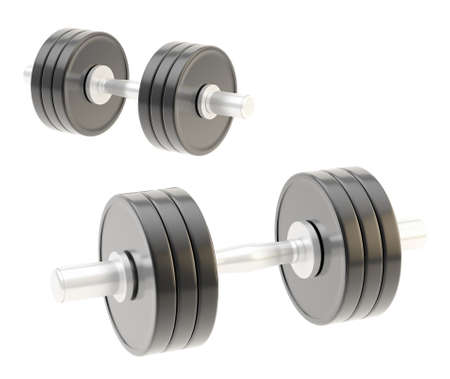 adjustable dumbbell: Two adjustable metal black dumbbell composition isolated over white