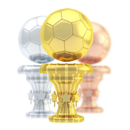 Award football, soccer sport trophy composition of golden, silver and bronze cups isolated over white  photo