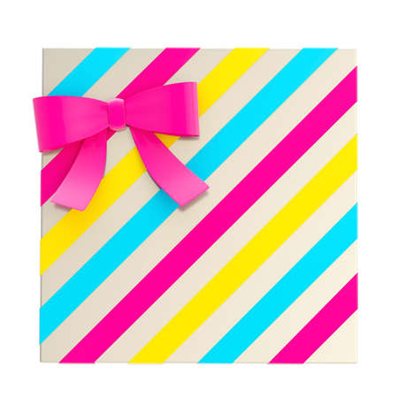 Wrapped chrome gift box with a cmyk colored bow and ribbon isolated over white , 3d render illustration illustration