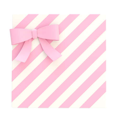 Wrapped white gift box with a pink bow and ribbon isolated over white , 3d render illustration illustration