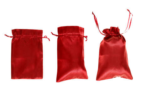 opened bag: Red drawstring bag packaging isolated over white, set of three images as a process of folding and closing an opened one