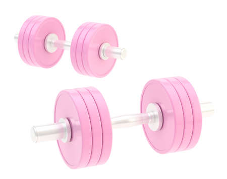 adjustable dumbbell: Two adjustable metal pink dumbbell composition isolated over white