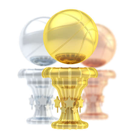 Award basketball sport trophy composition of golden, silver and bronze cups isolated over white  photo
