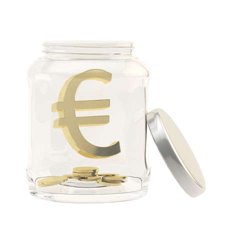 Euro currency sign with a multiple coins in a glass jar isolated over white  photo