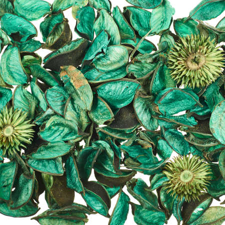 medley: Surface covered with green medley potpourri Stock Photo
