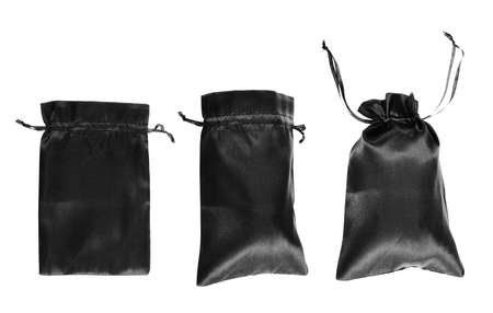 opened bag: Black drawstring bag packaging isolated over white background, set of three images as a process of folding and closing an opened one