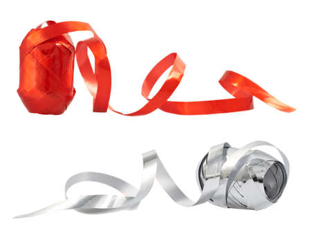 Decorational ribbon tape reel isolated over white background, set of two, red and silver photo
