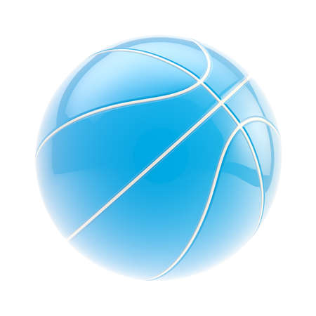 Glossy blue basketball ball 3d render isolated over white background