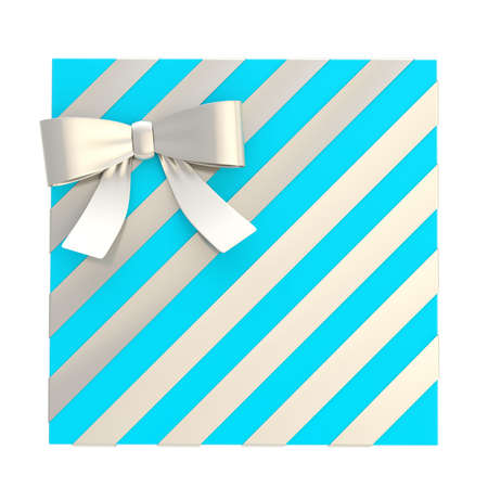 Wrapped blue gift box with a silver bow and ribbon isolated over white background, 3d render illustration illustration