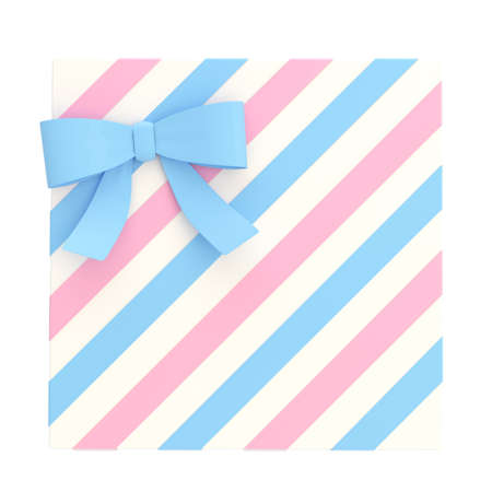 Wrapped white gift box with a pink and blue bow and ribbon isolated over white background, 3d render illustration illustration