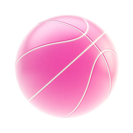 Glossy pink basketball ball 3d render isolated over white background Stock Photo