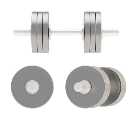 adjustable dumbbell: Adjustable weight metal dumbbell isolated over white background, set of three foreshortenings Stock Photo