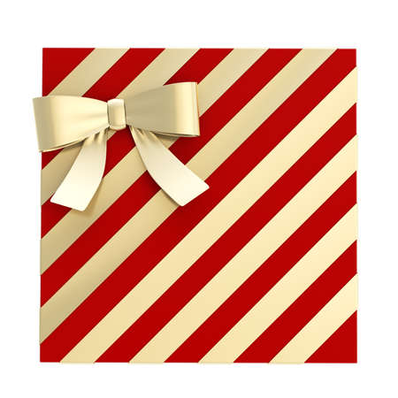 Wrapped vinous red gift box with a golden bow and ribbon isolated over white background, 3d render illustration illustration