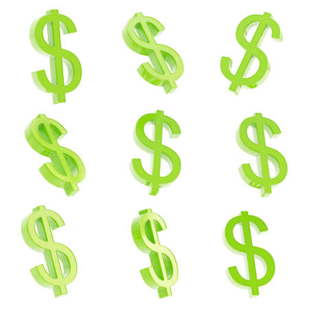 USD dollar green currency sign render isolated over white background, set of nine foreshortenings photo