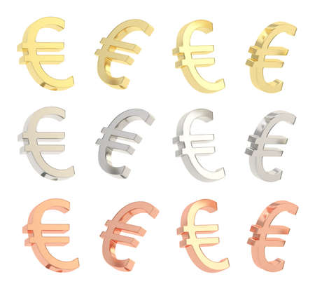 Euro currency sign isolated over white background, set of four foreshortenings, golden, silver and bronze photo