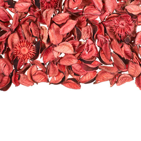 medley: Dried red medley potpourri leaves over white foreground as a copyspace background composition