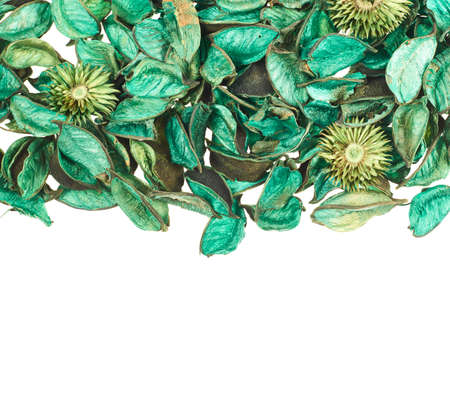 medley: Dried green medley potpourri leaves over white foreground as a copyspace background composition