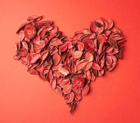 medley: Heart shape made of red medley potpourri composition