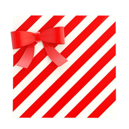 Wrapped white gift box with a red bow and ribbon isolated over white background, 3d render illustration illustration