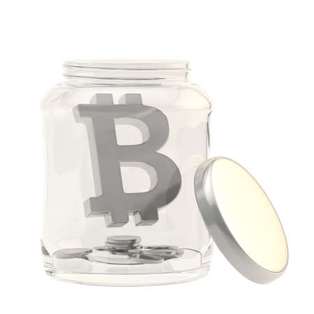crypto: Bitcoin silver peer-to-peer digital crypto currency sign with a multiple coins in a glass jar isolated over white background