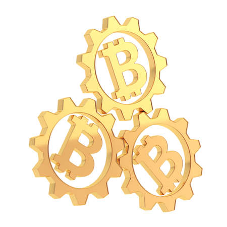 crypto: Three golden cogwheel gears with a golden bitcoin peer-to-peer crypto currency signs inside composition isolated over white background